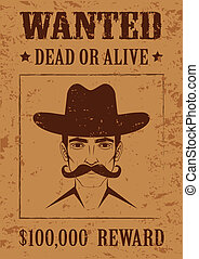 western vector poster, wanted dead or alive, vintage cowboy face,