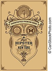 Western vintage frame antique label wanted retro hand drawn vector