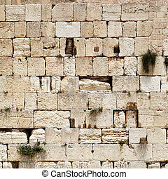 Western wall close-up (Wailing Wall). Jerusalem. Israel.