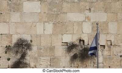 Western  Wall. Flag of Israel