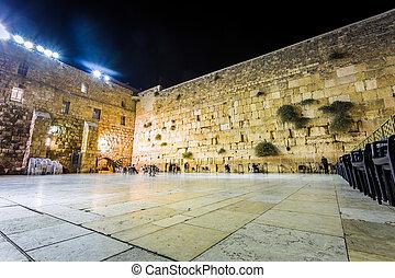 Western wall, Jerusalem, Israel - Western wall at night,...