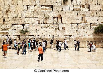 Western Wall - JERUSALEM - MAY 20: Palmers near The Western...