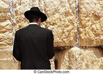 Western wall - Jew at the wailing western wall. Jerusalem....