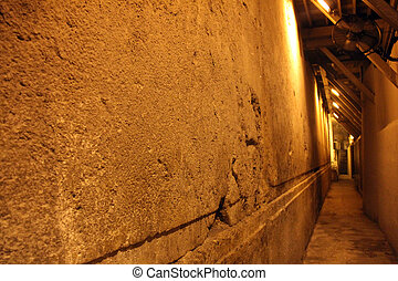 Western Wall Tunnel. 485 metres. The biggest stone - 510 long tons