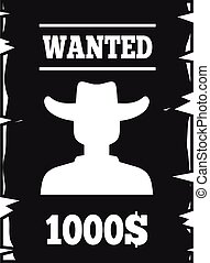 Western wanted paper icon, simple style