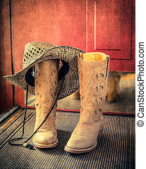 Western boot and hat with retro effect