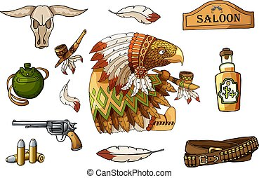 Western wild west art stickers set. Gun, skull, flask, feathers and other items
