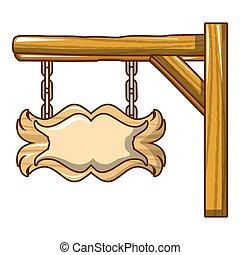 Western wood sign icon, cartoon style