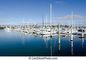 AUCKLAND, NZ - JUNE 02:Boats mooring in Westhaven Marina on June 02 2013.It's the largest yacht marina in the Southern Hemisphere. The marina has nearly two thousand berths and swing moorings, and tends to be continually booked.