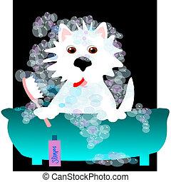 Westie bubble bath - Westie taking a bubble bath in a blue...