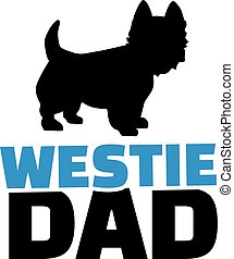 Westie dad with dog silhouette