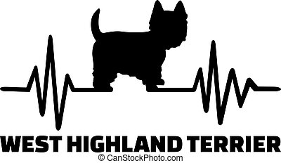 Westie frequency silhouette - Heartbeat frequency with...