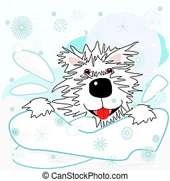 Westie in the snow - Fun times for a cartoon West Highland...