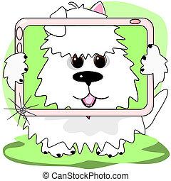Westie selfie - A little dog is taking a photo of itself...