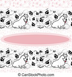Westie with paw prints - Illustration of a westie with paw...