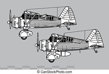 World War 2 combat aircraft. Side view. Image for illustration and infographics.