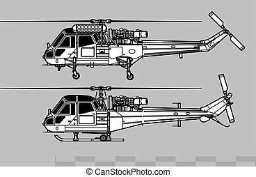 Westland Wasp, Scout, Sea Scout. Outline vector drawing -...
