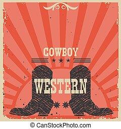 westlich, hintergrund, cowboystiefel