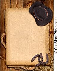westlich, hintergrund, mit, cowboyhut, und, horseshoe.