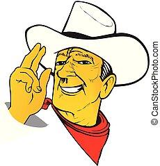 westlich, karikatur, charismatic, texas, cowboy, förster,...