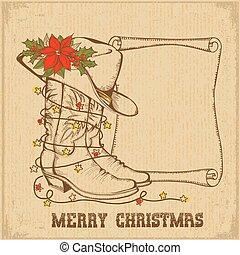 westlich, weihnachten, grüßen karte, mit, cowboy, traditionelle , stiefeln, und, rolle