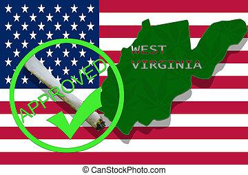 westliches virginia, auf, cannabis, hintergrund., droge, policy., legalization, von, marihuana, auf, usa markierung
