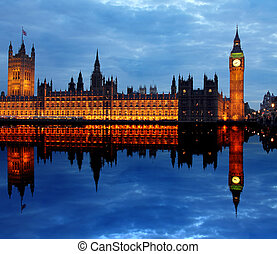 westminster, 由于, 大本鐘, 在, 倫敦
