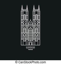 Vector Illustration of Westminster Abbey Icon Outline for Design, Website, Background, Banner. Travel Britain Landmark Element Silhouette Template for Tourism Flyer