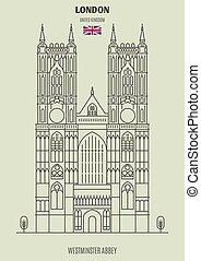 Westminster Abbey in London, UK. Landmark icon in linear style