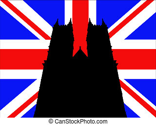 Westminster Abbey London against British Flag