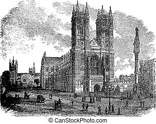 Westminster Abbey or Collegiate Church of St Peter in London England vintage engraving
