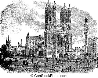 Westminster Abbey or Collegiate Church of St Peter in London, England, during the 1890s, vintage engraving. Old engraved illustration of Westminster Abbey with people in front.