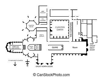 Westminster Abbey - Floor plan of Westminster Abbey, London,...