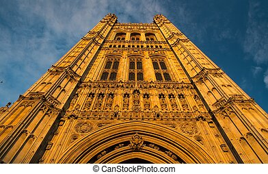 Westminster abbey tower against sky in London, England