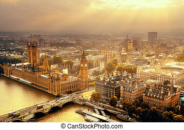 Westminster aerial view with Thames River and London urban ...