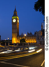 Westminster at night with traffic