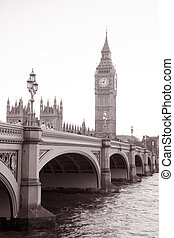 Westminster Bridge and Big Ben, London, England, UK in Black and White Sepia Tone