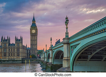 Westminster Bridge, Big Ben and Houses of Parliament at sunset, London, UK