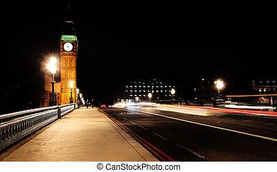 Westminster Bridge in London at night