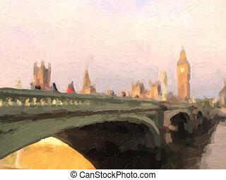 Westminster Bridge oil paint