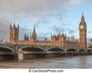 Westminster Bridge panorama with the Houses of Parliament...
