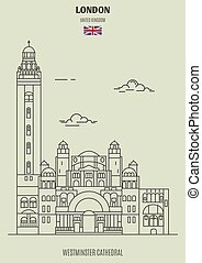 Westminster Cathedral in London, UK. Landmark icon in linear style