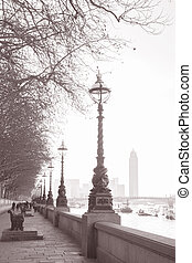 Westminster Embankment, London, England, UK in Black and White Sepia Tone