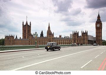 westminster katedra, i, cielna ben zegar wieża, w, london.