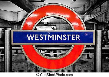 westminster, metro, stacja, londyn, znak