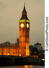 westminster opactwo, z, cielna ben, londyn