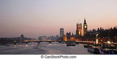 Westminster Palace at Dusk - Westminster Palace, Big Ben and...