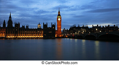Westminster Palace at night seen from South Bank