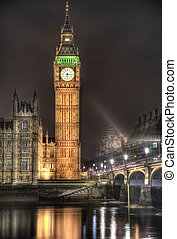 Westminster Palace Clock Tower - Night time view of the ...