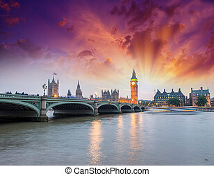 Westminster Palace lights at night - London.